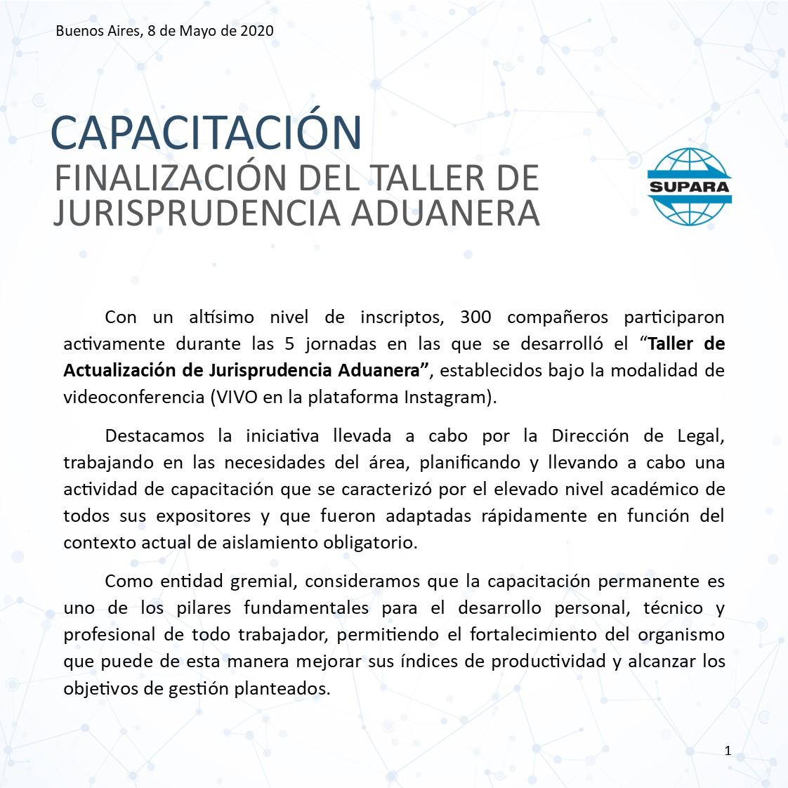 2020 05 08 FINALIZACIÓN DEL TALLER DE ACTUALIZACION JURISPRUDENCIA ADUANERA 1